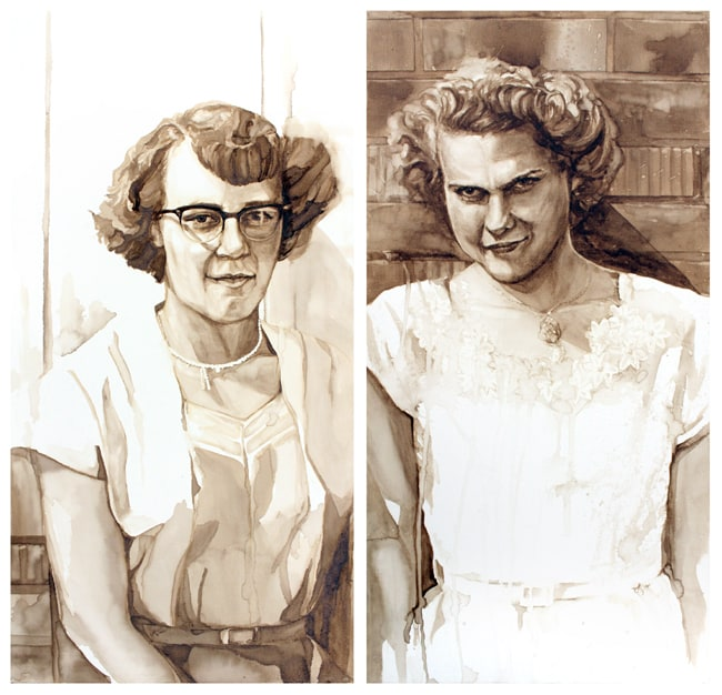 The Waitresses - Diptych Coffee Painting by Lauren Daae