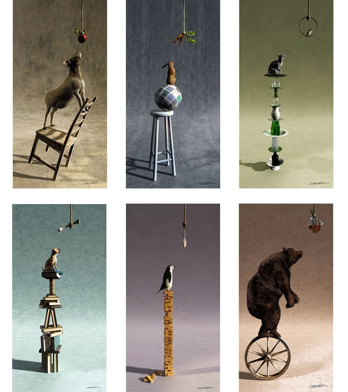 6 images of animals balancing on different objects, trying to get at a prize.