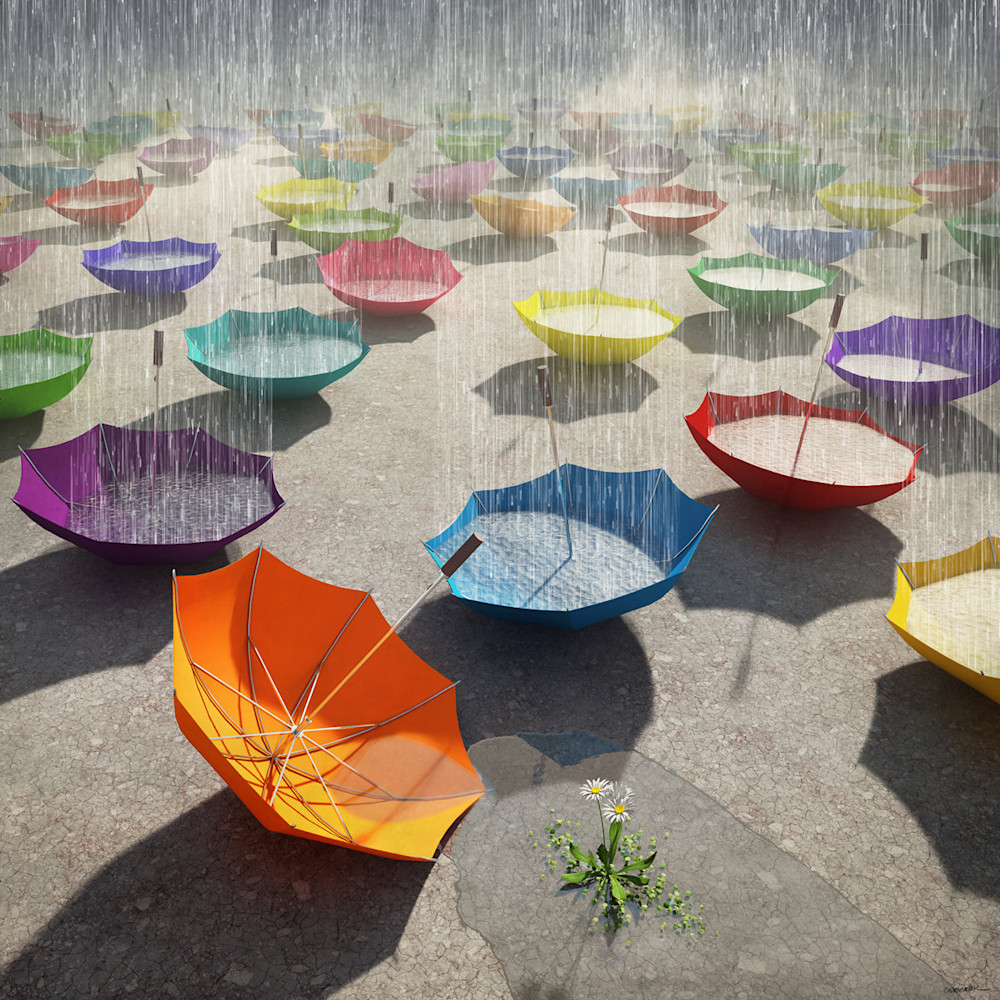 An image of many colorful umbrellas, upside down and filling with rain.