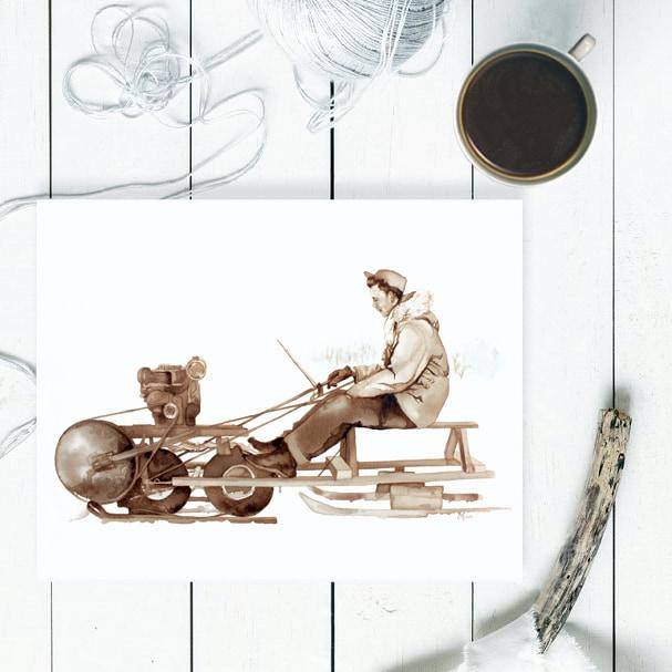 The Snowmachine - Coffee Painting by Lauren Daae