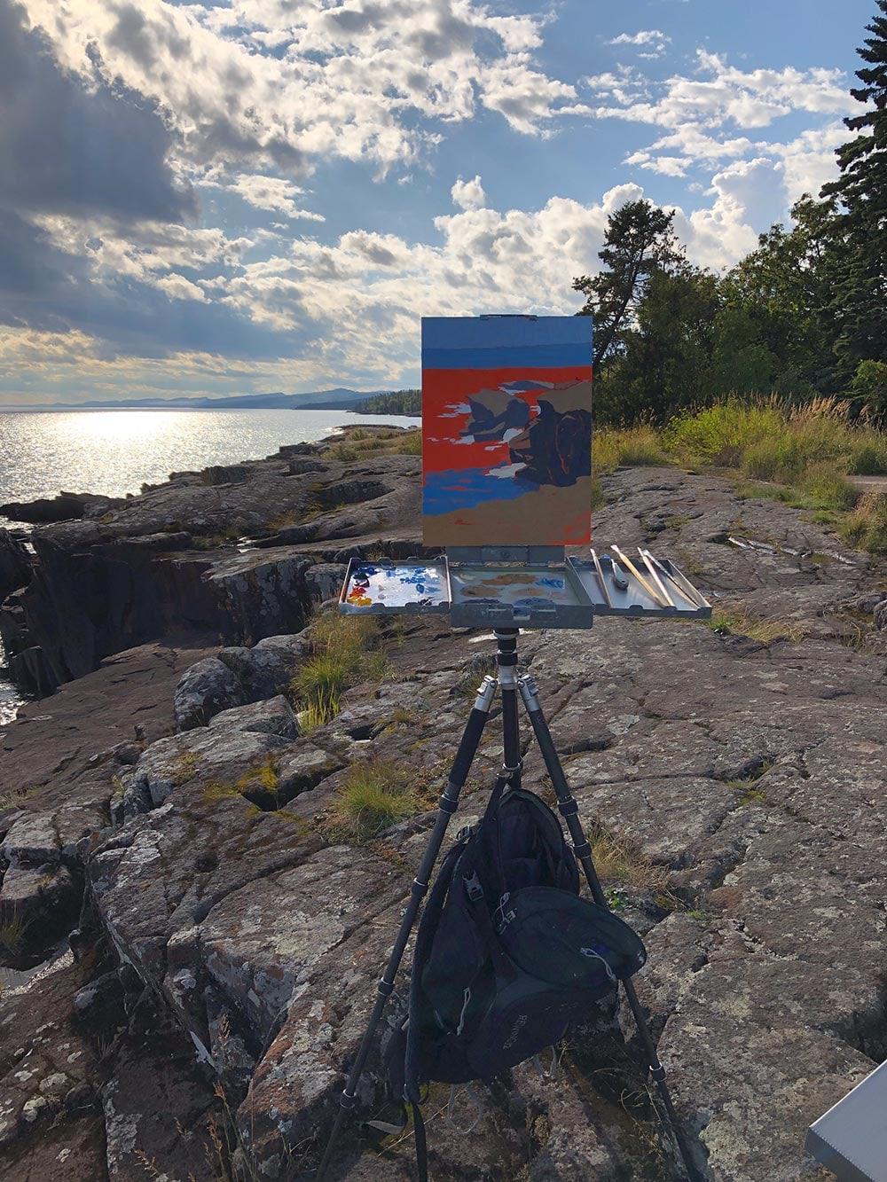 Abbey Fitzgerald Plein Air Painting in Grand Marais, MN