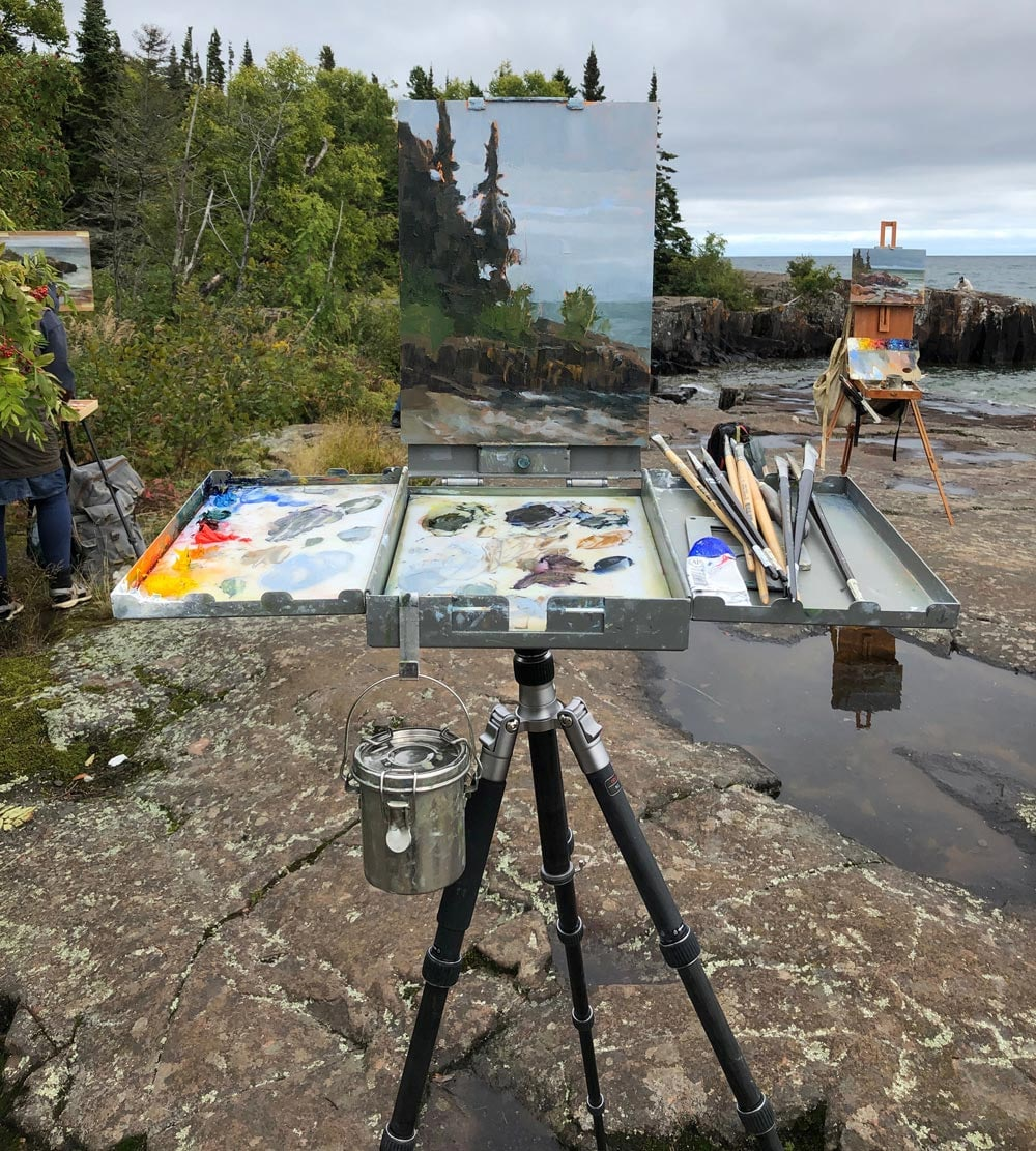 Abbey Fitzgerald Plein Air Painting at Artists' Point in Grand Marais, MN