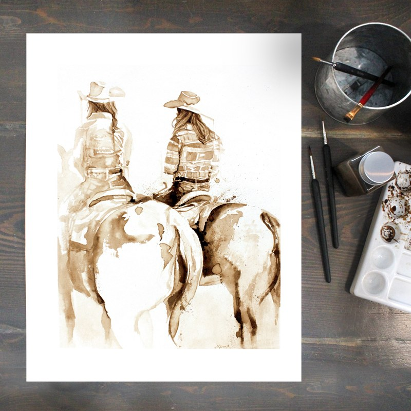 Dream x2 - Coffee Painting by Lauren Daae