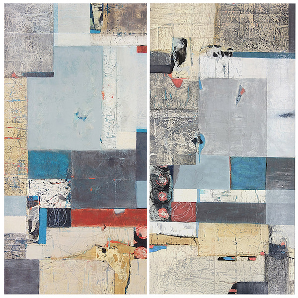 Original Diptych by Shirley Williams Organizing Space 48x48 inches