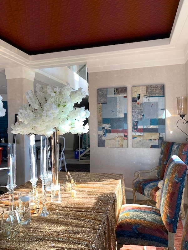 Just sold original diptych painting by shirley williams installed in client dining room