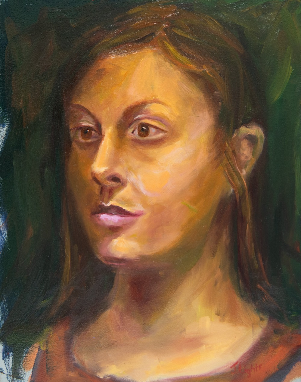 Portrait oil painting with warm colors by Jamie Lightfoot.