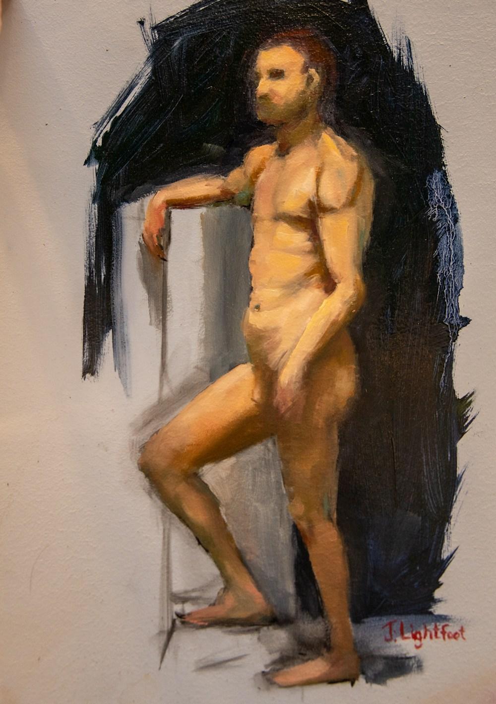 Male Figure Nude Oil Painting