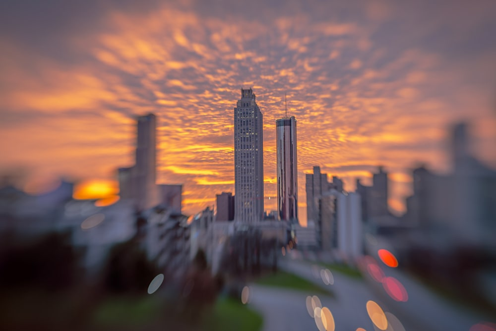 A photo of a Atlanta's Jackson Street Bridge during a gorgeous sunset, taken with Lensbaby Sweet 50