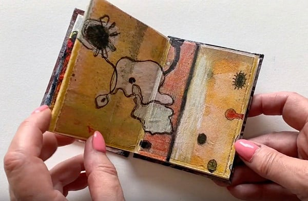 Original miniature accordion art book by artist Shirley Williams © 2019