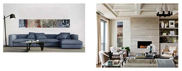 two living rooms with mock ups on art by shirley williams on walls