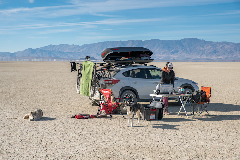 Camping and cooking on the Black Rock Desert playa.