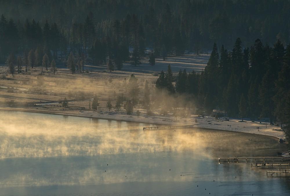 Morning inversion fog layer lifting over South Lake Tahoe, California
