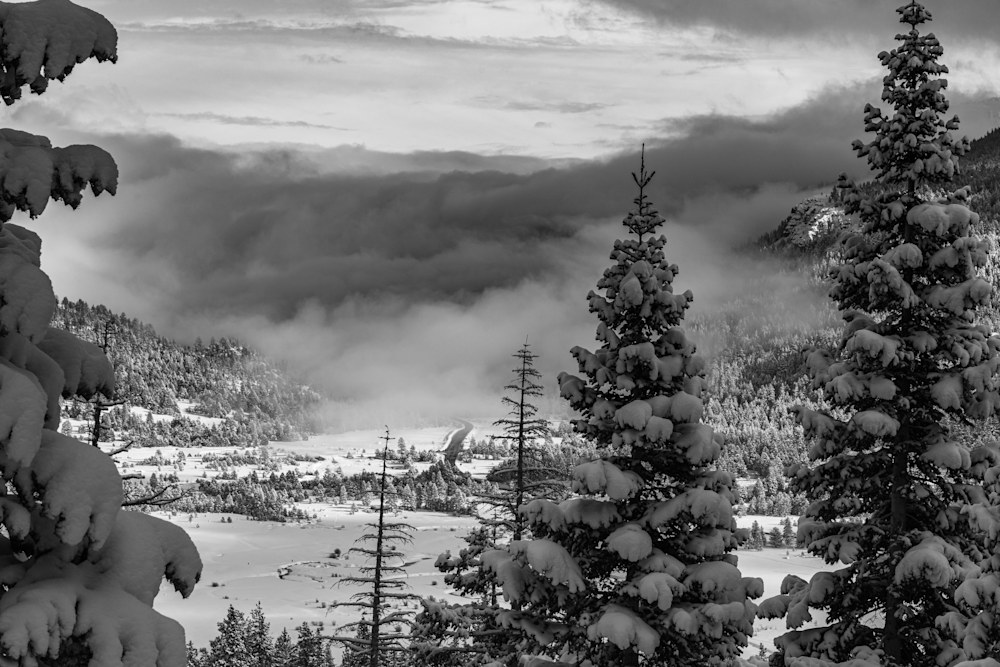 Black and White Stormy Hope Valley Landscape Photoraph