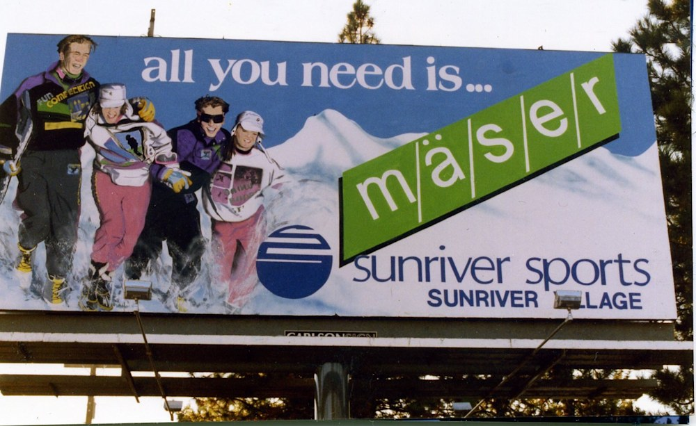 Cristina Acosta billboard painting 1990,   Randy Barna Ski Shop ad 1989, Poster Paints on Paper, Brush & Airbrush