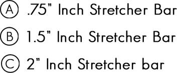 A: .75 inch stretcher bar, B: 1.5 inch stretcher bar, C: 2 inch stretcher bar