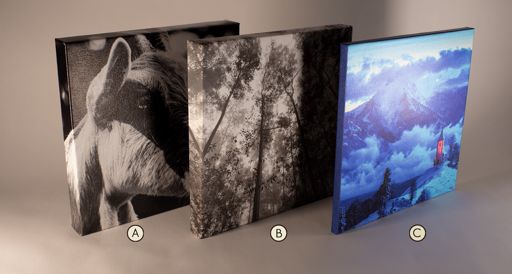 an image consisting of 3 canvas' displaying our different edge options of mirror, overflow, or border color