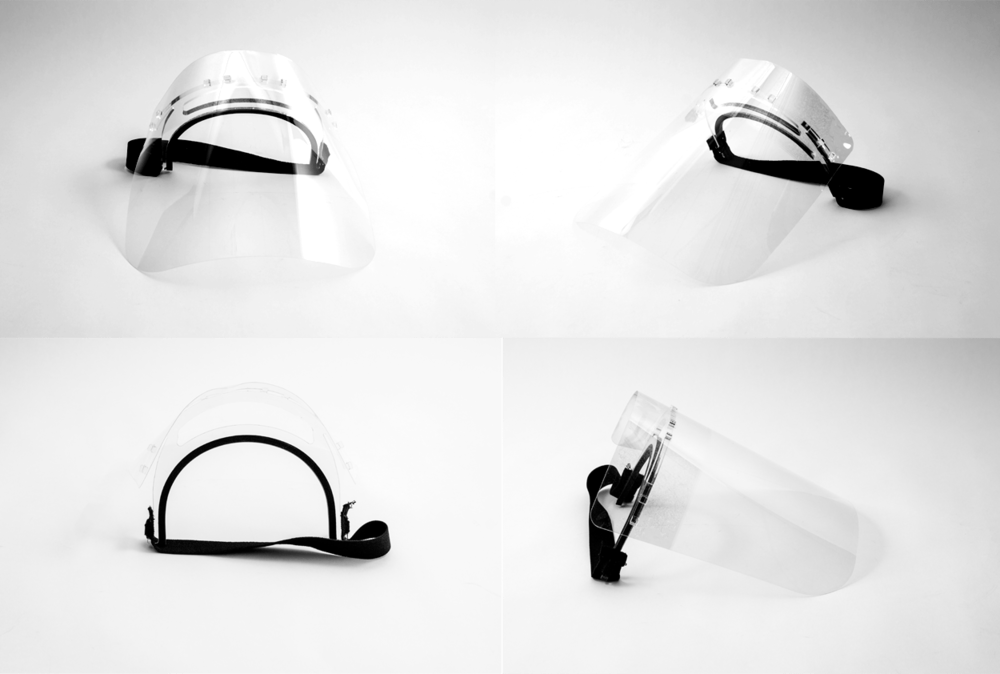 Product shot of the face shield at different angles with strap