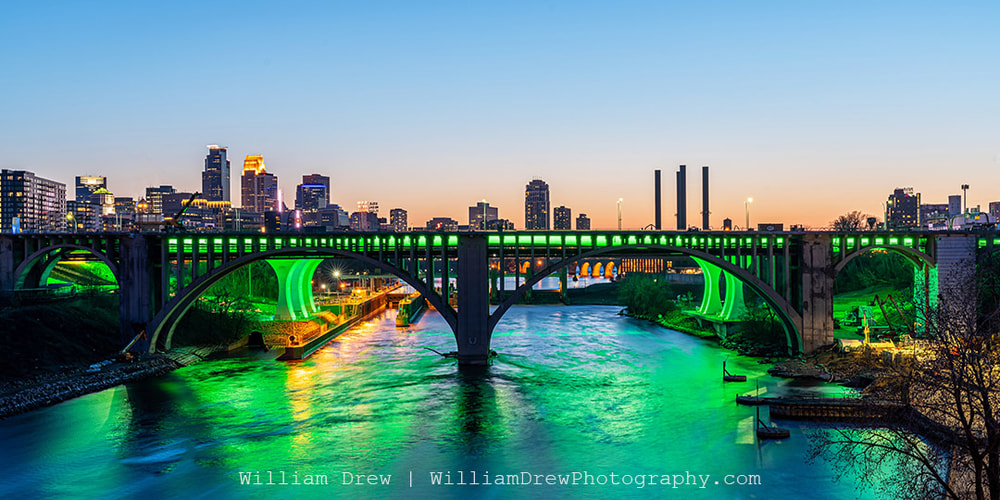 35W Bridge in Green for Earth Day in Minneapolis - Minneapolis Pictures | William Drew Photography