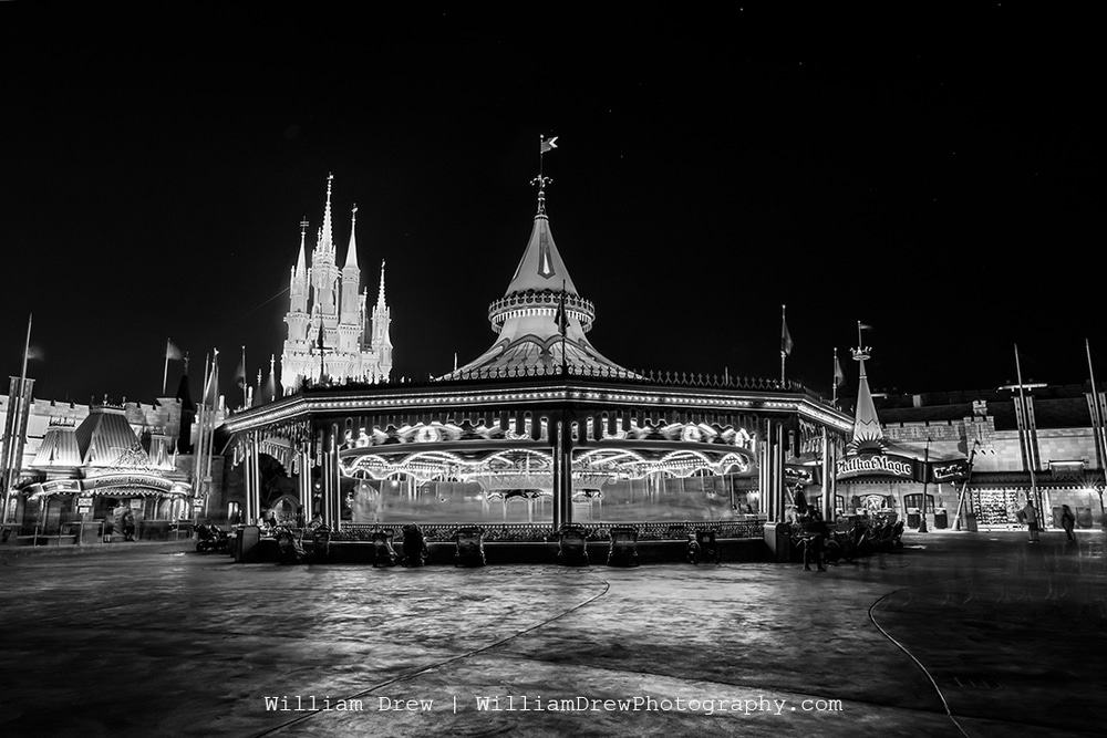 Prince Charming Regal Carousel Black and White - Magic Kingdom Images | William Drew Photography