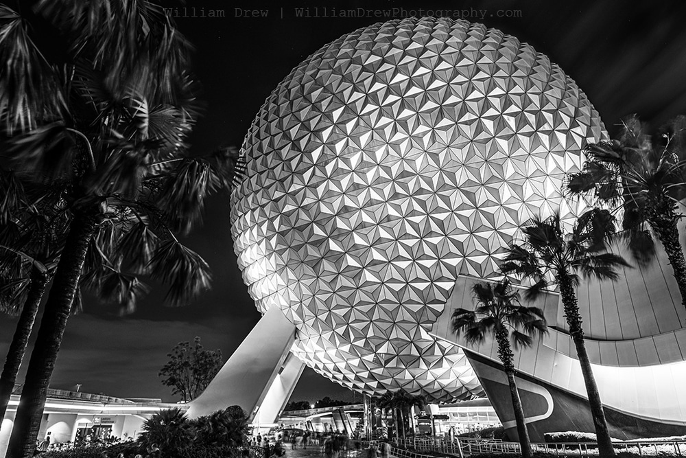 Spaceship Earth at Night Black and White - Disney Black and White Images | William Drew Photography
