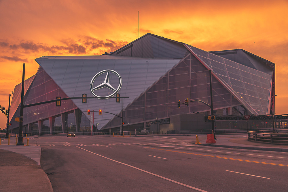 The Mercedes-Benz Stadium in Atlanta during an epic sunset