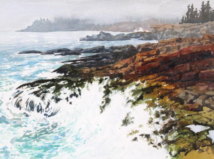 Watercolor sketch of Mt. Dessert Island by William Hays