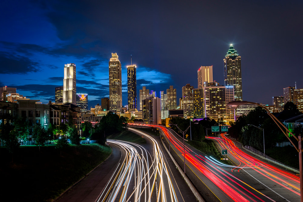 A view of the Atlanta City skyline during blue hour