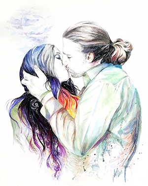 mixed media painting of a couple kissing in The KISS Project series