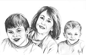 pencil portrait of wife and grandchildren