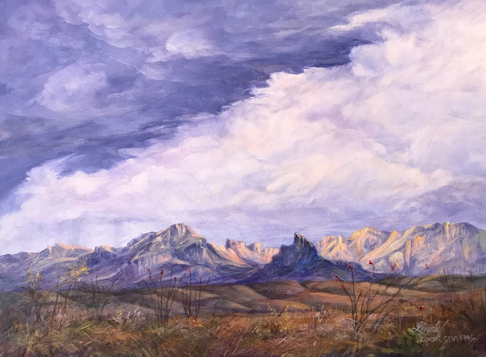 clouds over desert mountains oil painting