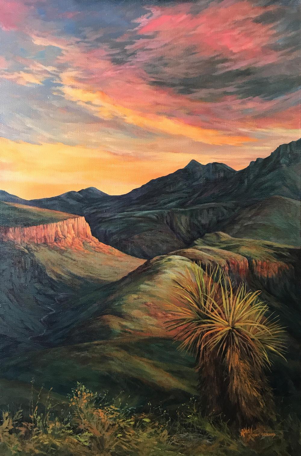 sunset over desert canyon