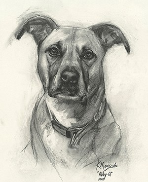 #6. Charcoal on textured paper (Pet, large)