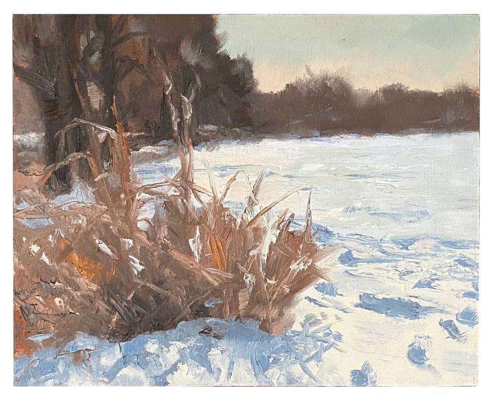 Winter plein air painting at Medicine Lake