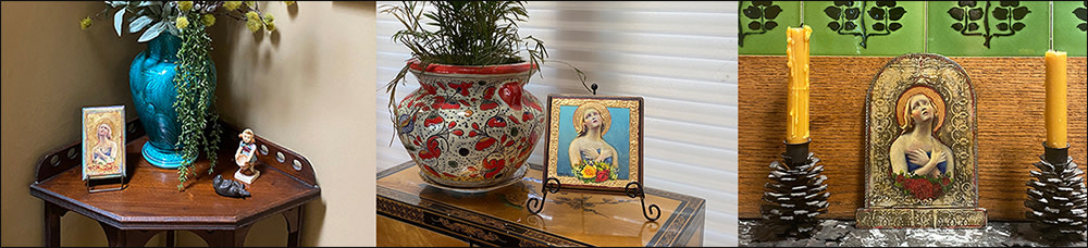 Angel plaques displayed on shelf and on easel