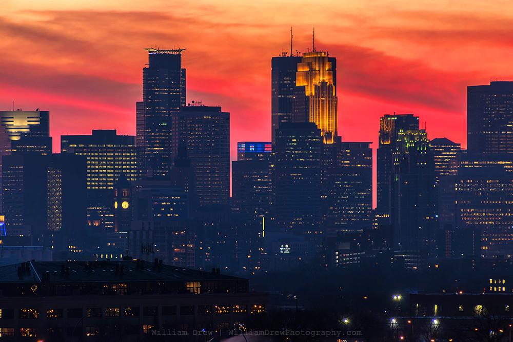 Minneapolis Skyline Clouds on Fire - Minneapolis Skyline Art | William Drew Photography