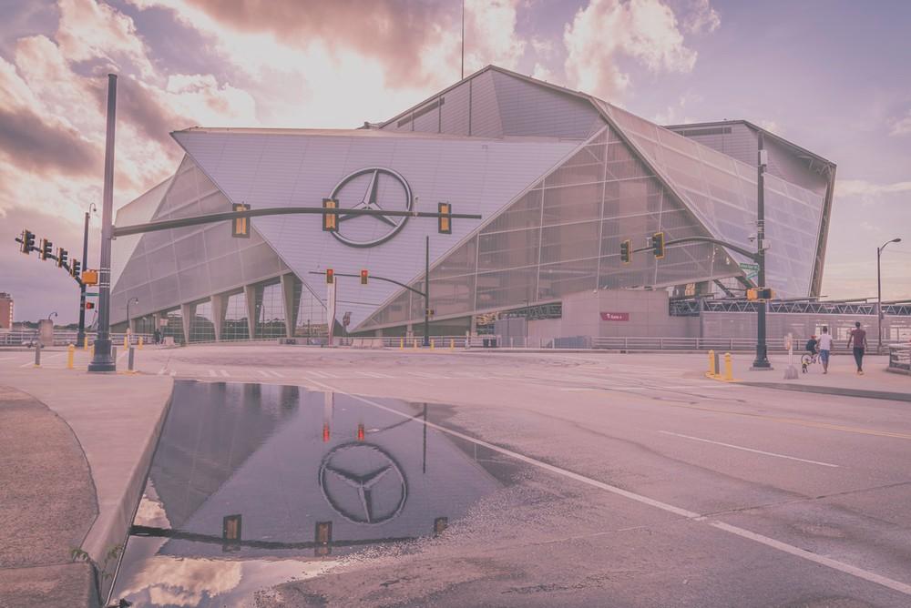 Mercedes Benz Stadium almost sunset
