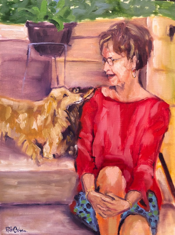 Figurative Painting of Lady with Dachshunds