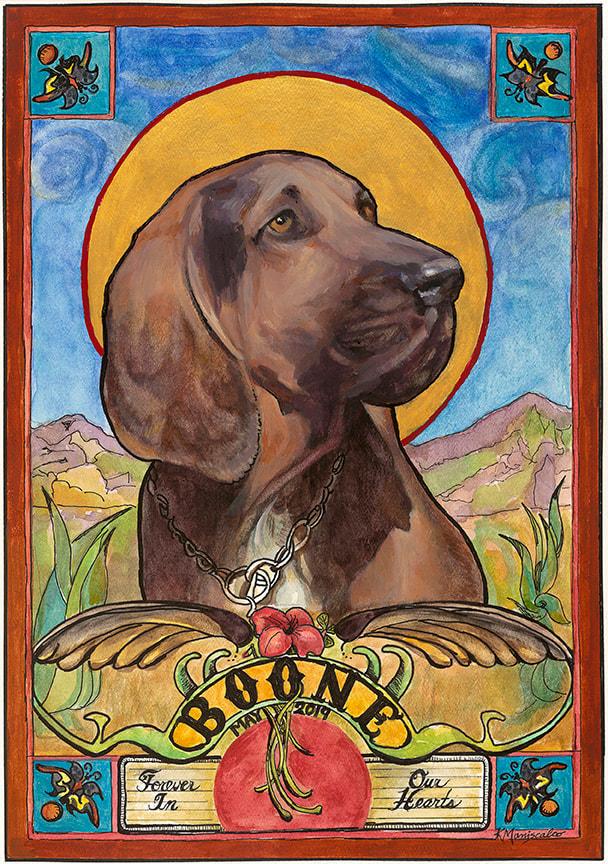 Boone, a custom pet portrait by Kathy Maniscalco, Santa Fe, NM