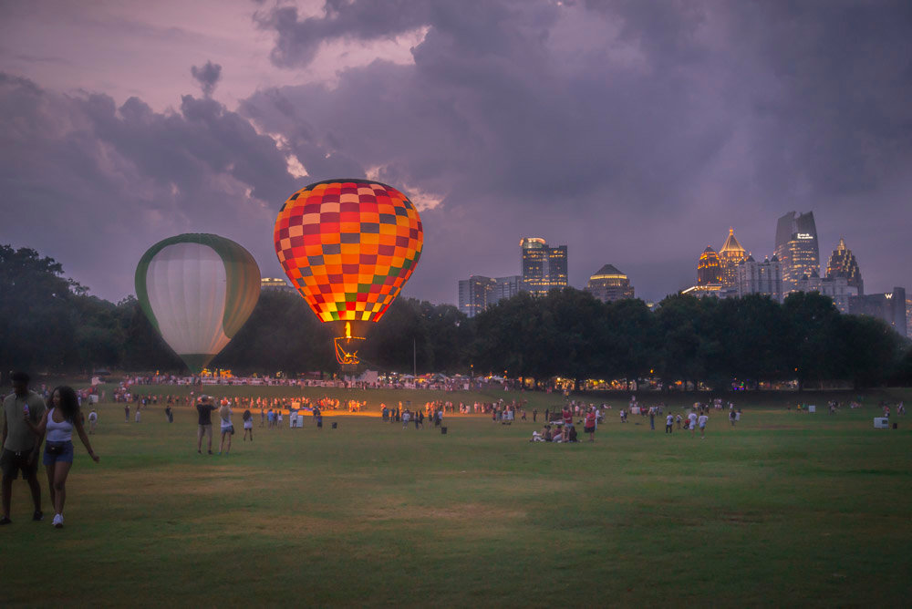 Hot-air balloons in Piedmont Park in 2019