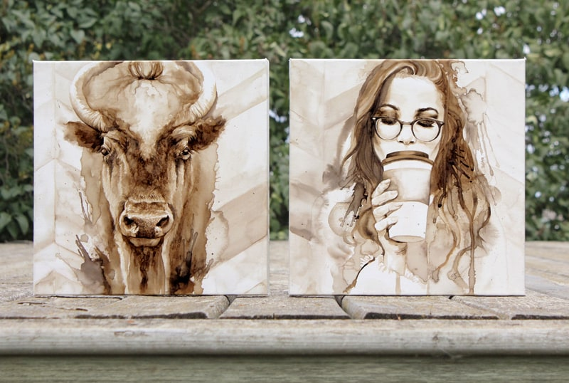 Prairie Hipsters - Coffee Paintings by Lauren Daae