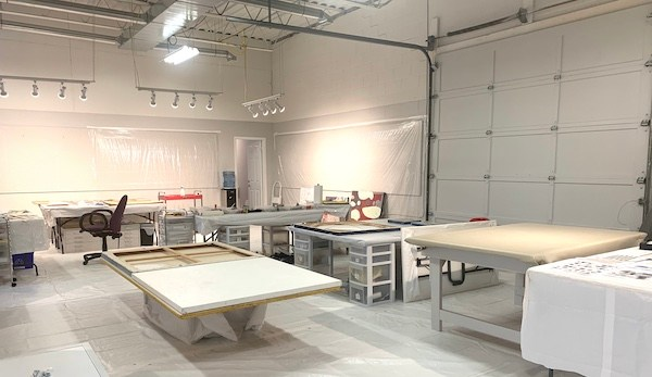 Newly renovated warehouse painting studio of Canadian artist Shirley Williams