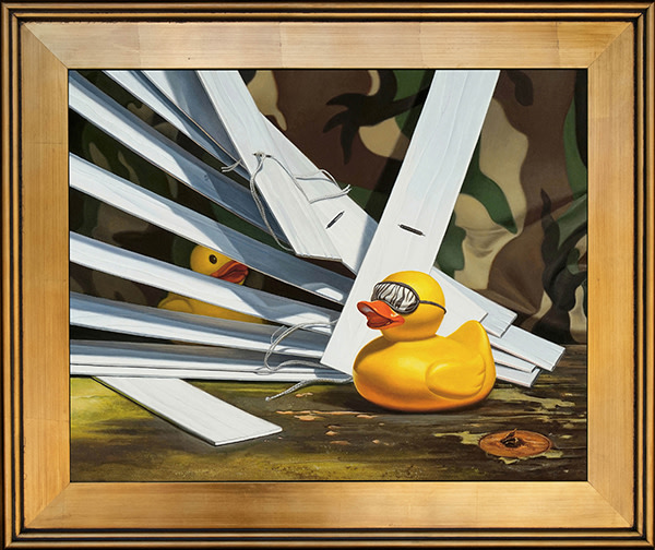 Duck Blind is a painting with a rubber duck pun by Kevin Grass