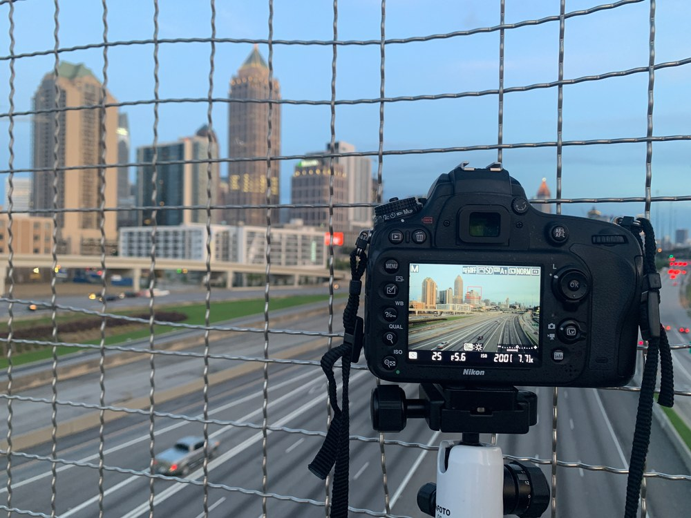 A photo of my camera setup when I was shooting some photos of the City of Atlanta