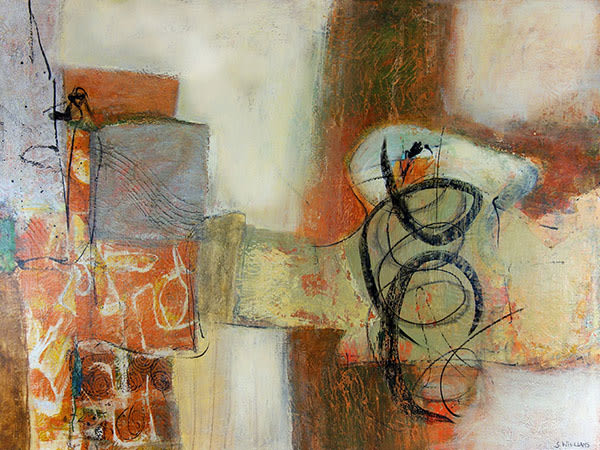 'Building Blocks' original acrylic abstract painting on gallery wrapped canvas by canadian artist shirley williams