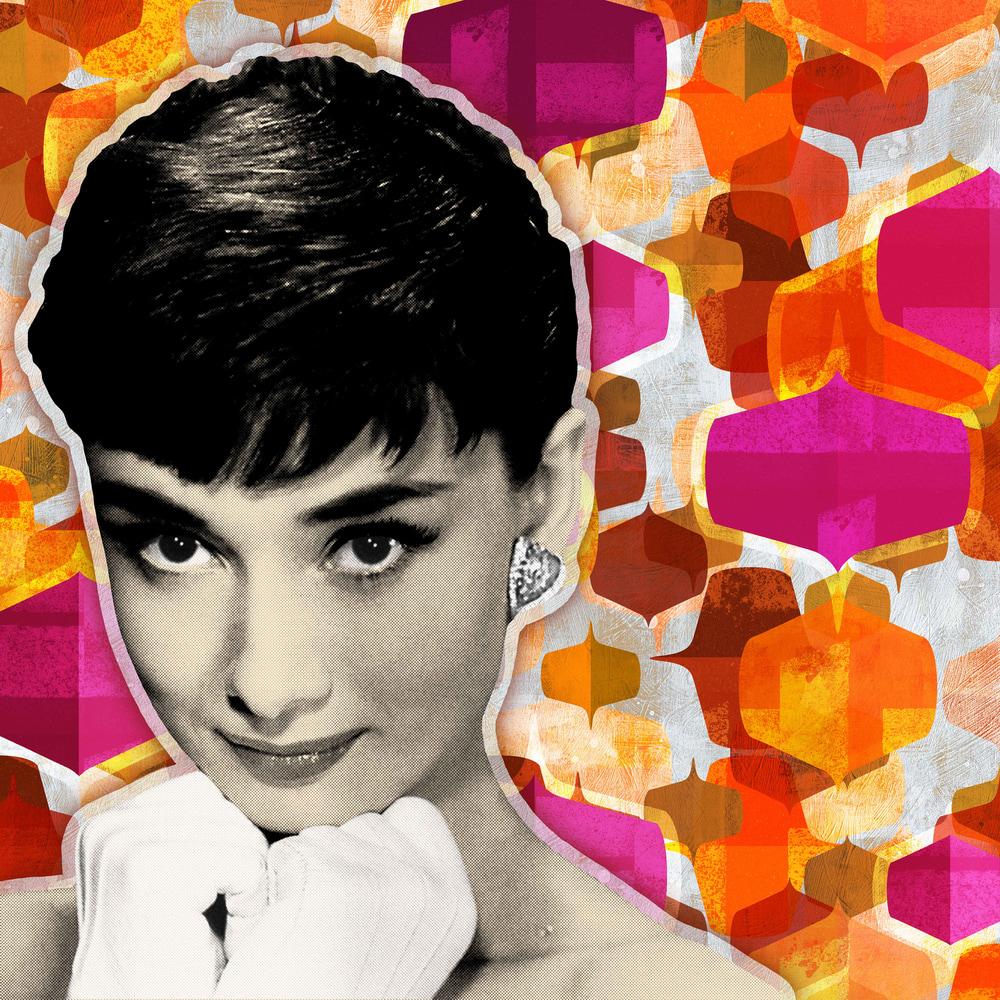 Audrey Hepburn Mid-Century Art Print