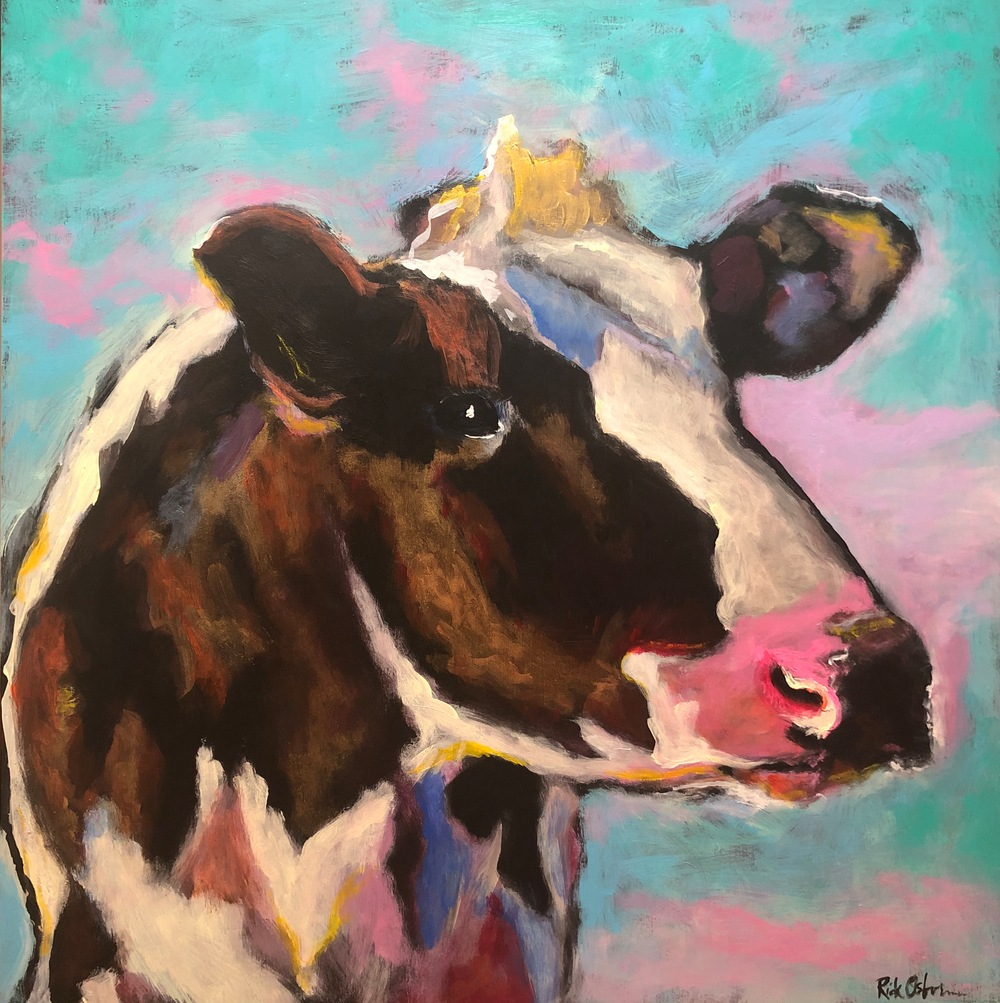 Daisy Mae Colorful Cow Painting
