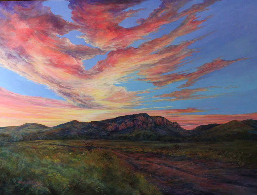 sunset on ranchland in davis mts oil painting