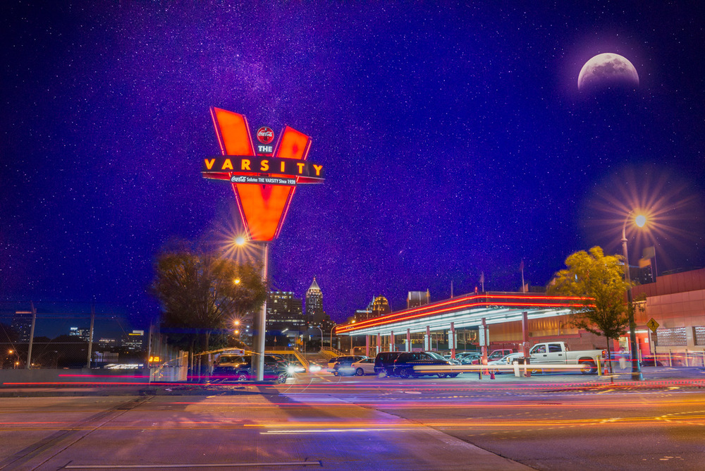 Moon and stars over Atlanta's iconic Varsity drive-in