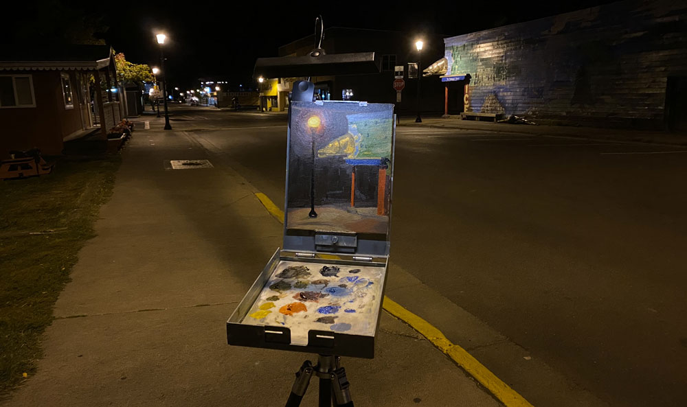 Painting a nocturne in Grand Marais, MN