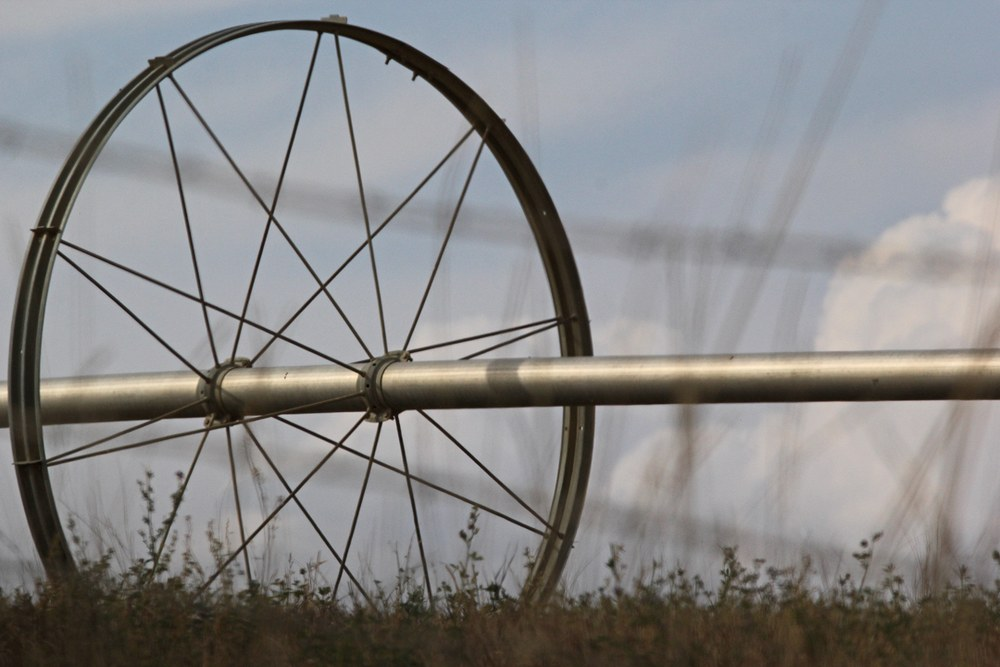 Irrigation wheel from the side.